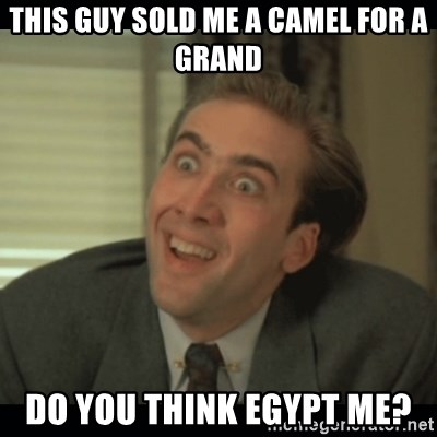Nick Cage - This guy sold me a camel for a grand do you think egypt me?
