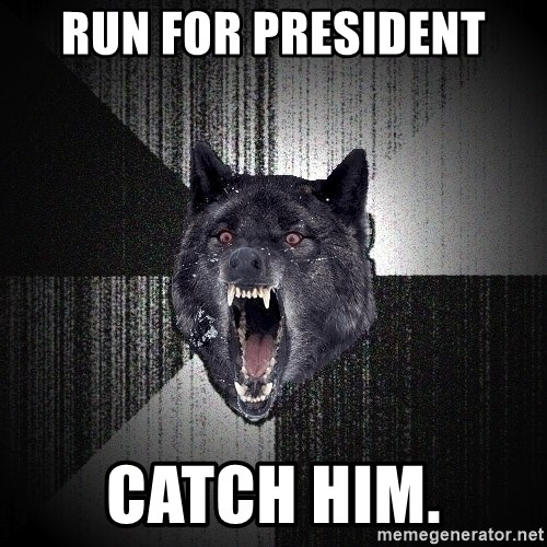 Insanity Wolf - Run for president catch him.