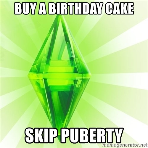 Sims - Buy a birthday cake skip puberty