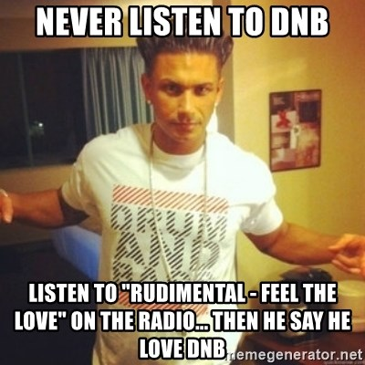 "Drum And Bass Guy - Never listen to dnb listen to ""Rudimental - feel the love"" on the radio... then he say he love dnb"