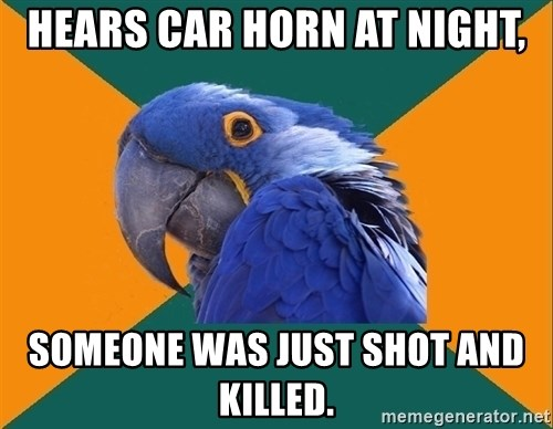 Paranoid Parrot - hears car horn at night, someone was just shot and killed.