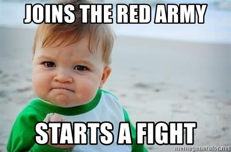 fist pump baby - JOINS THE RED ARMY STARTS A FIGHT