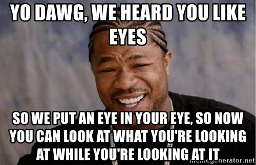 Yo Dawg - Yo dawg, we heard you like eyes so we put an eye in your eye, so now you can look at what you're looking at while you're looking at it
