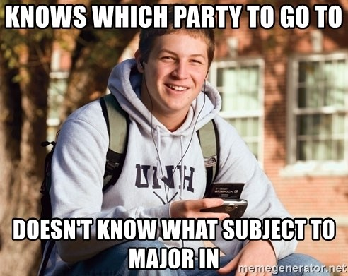 College Freshman - knows which party to go to doesn't know what subject to major in