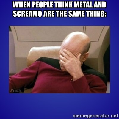 Picard facepalm  - WHEN PEOPLE THINK METAL AND SCREAMO ARE THE SAME THING:
