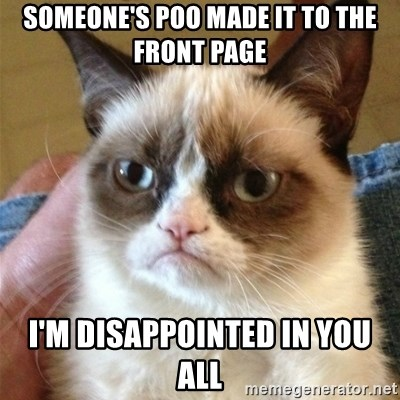 Grumpy Cat  - Someone's poo made it to the front page I'm disappointed in you all