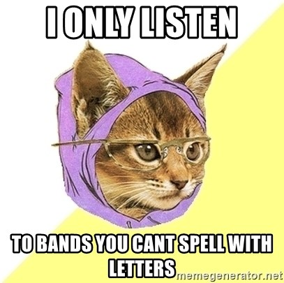 Hipster Kitty - I only listen to bands you cant spell with letters