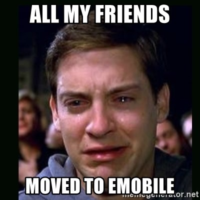 crying peter parker - all my friends moved to emobile