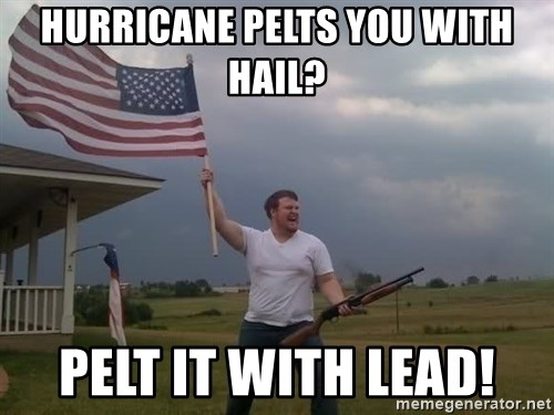 american flag shotgun guy - hURRICANE PELTS YOU WITH HAIL? PELT IT WITH LEAD!