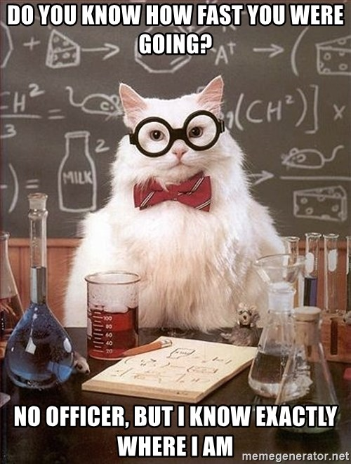 Science Cat - do you know how fast you were going? No officer, but i know exactly where i am
