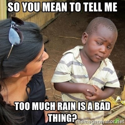 Skeptical 3rd World Kid - so you mean to tell me too much rain is a bad thing?
