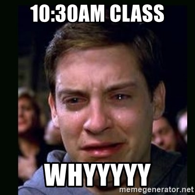 crying peter parker - 10:30am class whyyyyy