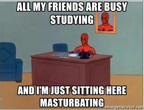 Spiderman Desk - All my friends are busy studying and i'm just sitting here masturbating