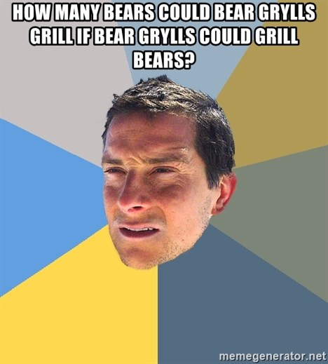 Bear Grylls - How many Bears could Bear Grylls grill if Bear Grylls could grill bears?