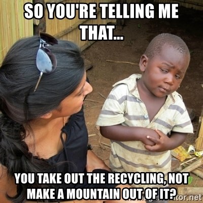 skeptical black kid - So you're telling me that... you take out the recycling, not make a mountain out of it?