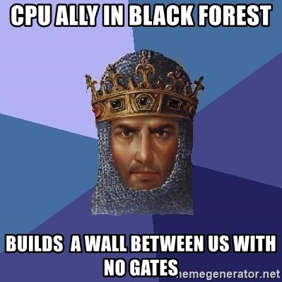 Aoe2 - CPU Ally in Black Forest  builds  a wall between us with no gates