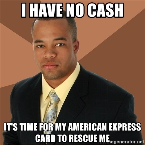 Successful Black Man - i have no cash it's time for my american express card to rescue me