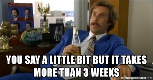 That escalated quickly-Ron Burgundy - YOU SAY a little bit but it takes more than 3 weeks