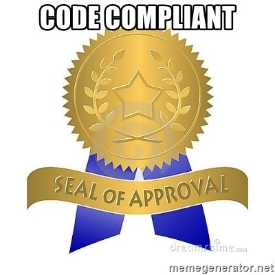 official seal of approval - code compliant