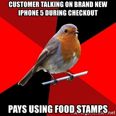 Retail Robin - Customer talking on brand new iphone 5 during checkout pays using food stamps