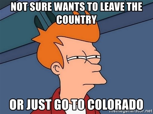 Futurama Fry - not sure wants to leave the country or just go to colorado