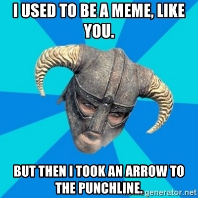 skyrim stan - I used to be a meme, like you. But then I took an arrow to the punchline.