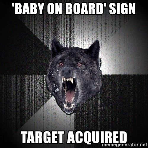 Insanity Wolf - 'baby on board' sign target acquired