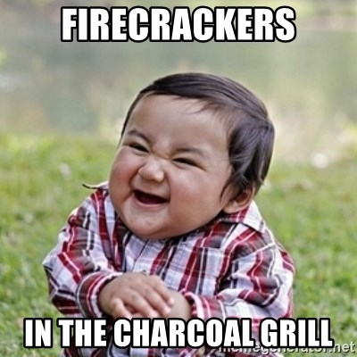 evil toddler kid2 - firecrackers in the charcoal grill