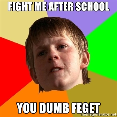 Angry School Boy - FIGHT ME AFTER SCHOOL YOU DUMB FEGET
