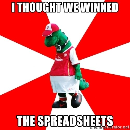 Arsenal Dinosaur - i thought we winned the spreadsheets