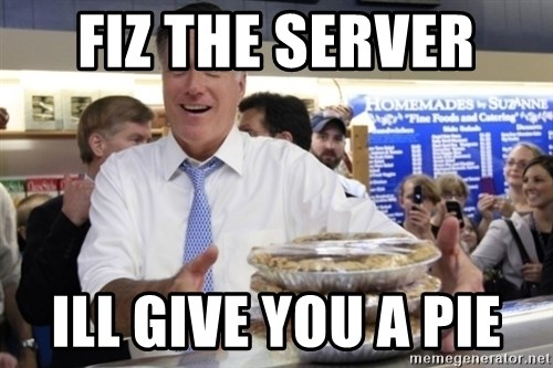 Romney with pies - FIZ THE SERVER  ILL GIVE YOU A PIE