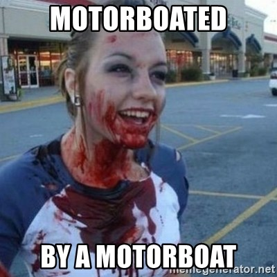Scary Nympho - motorboated by a motorboat