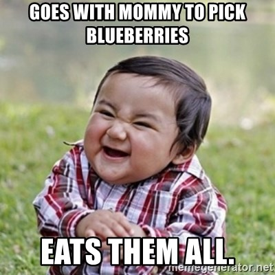 evil toddler kid2 - Goes with mommy to pick blueberries eats them all.
