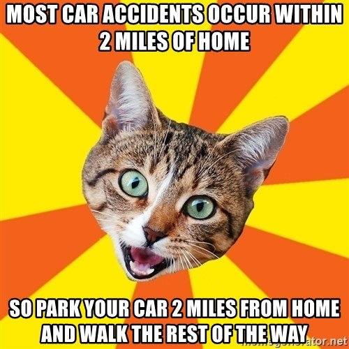 Bad Advice Cat - most car accidents occur within 2 miles of home so park your car 2 miles from home and walk the rest of the way