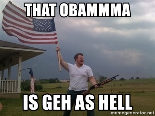 american flag shotgun guy - that obammma  is geh as hell