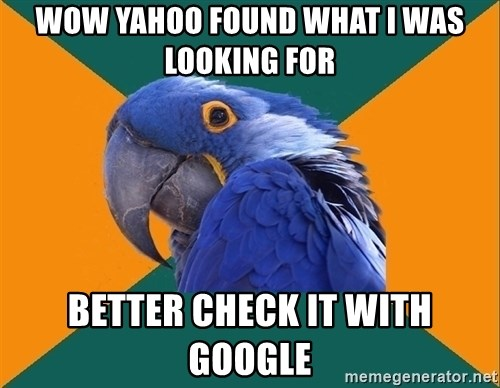 Paranoid Parrot - Wow yahoo found what I was looking for Better chEck it with google