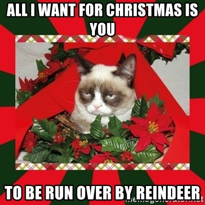 GRUMPY CAT ON CHRISTMAS - all i want for christmas is you to be run over by reindeer