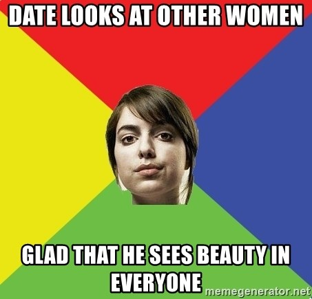 Non Jealous Girl - Date looks at other women glad that he sees beauty in everyone