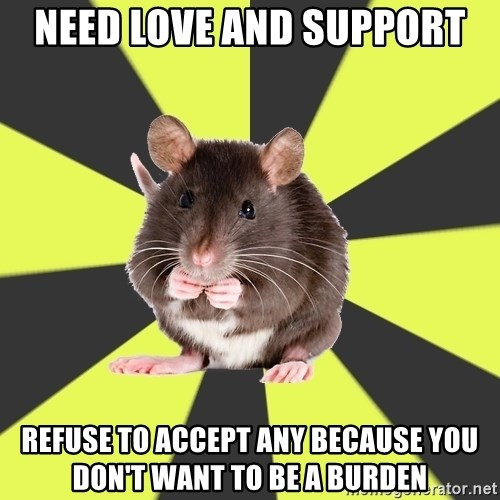Survivor Rat - need love and support refuse to accept any because you don't want to be a burden