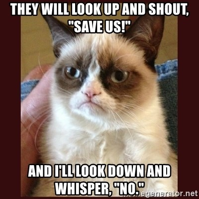 """Tard the Grumpy Cat - They will look up and shout, """"Save Us!"""" And I'll look down and whisper, """"No."""""""