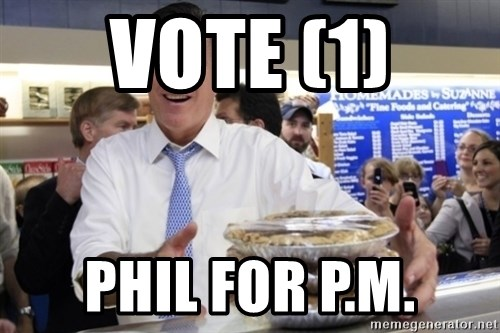 Romney with pies - VOTE (1) PHIL FOR P.M.