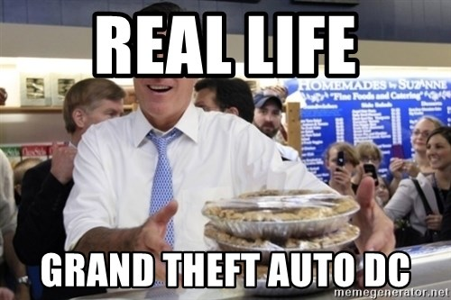 Romney with pies - real life grand theft auto dc