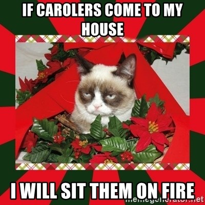 GRUMPY CAT ON CHRISTMAS - If carolers come to my house i will sit them on fire