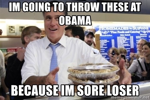 Romney with pies - im going to throw these at obama  because im sore loser