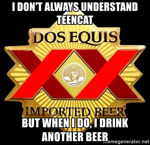 Dos Equis - I DON'T ALWAYS UNDERSTAND TEENCAT BUT WHEN I DO, I DRINK ANOTHER BEER