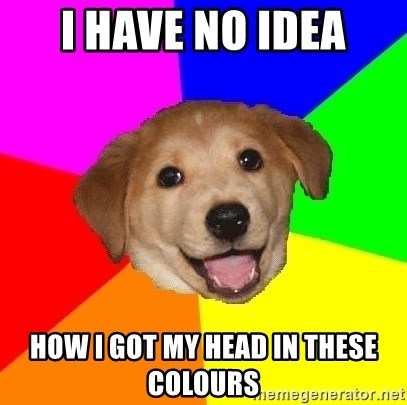 Advice Dog - I HAVE NO IDEA HOW I GOT MY HEAD IN THESE COLOURS