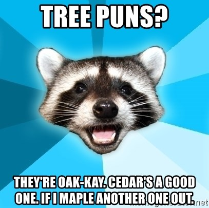 Lame Pun Coon - Tree Puns? They're oak-kay. Cedar's a good one. If I maple another one out.