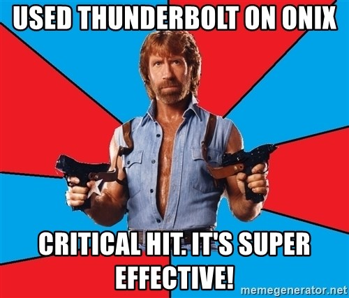 Chuck Norris  - used thunderbolt on onix critical hit. it's super effective!