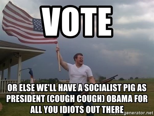 american flag shotgun guy - Vote Or else we'll have a socialist pig as president (cough cough) Obama for all you idiots out there