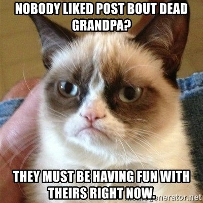Grumpy Cat  - NoboDy liked post bout dead grandpa? They must be having fun with theirs right now.